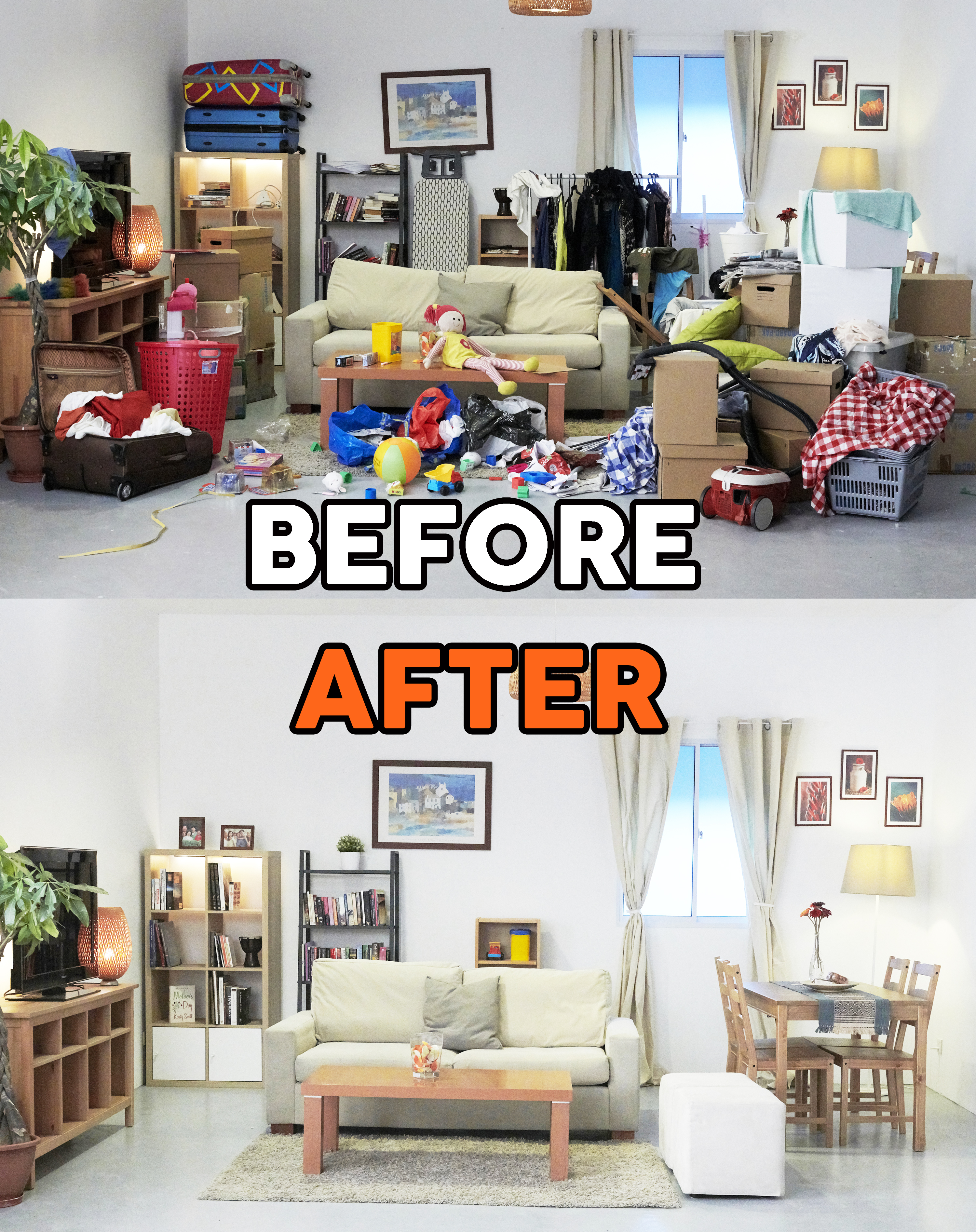 Before and after image of a house that used storage units for keeping their old baby items to tidy their home.