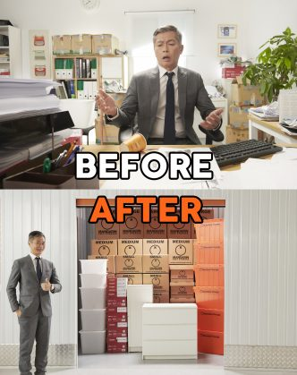 Before and after image of a man who was glad after seeing his things getting organized properly in a business self storage space