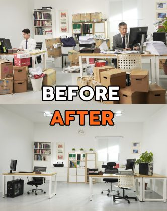 A messy office with many unorganized boxes was cleaned and organized by storage spage experts in Singapore